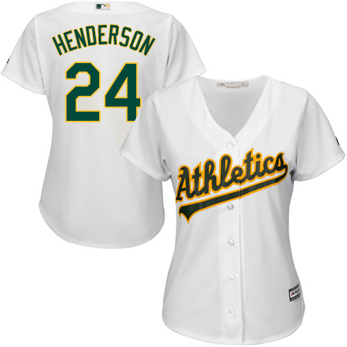 Women's Majestic Oakland Athletics #24 Rickey Henderson Authentic White Home Cool Base MLB Jersey