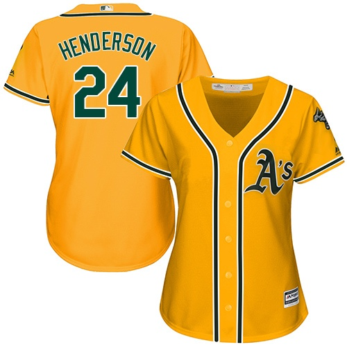 Women's Majestic Oakland Athletics #24 Rickey Henderson Replica Gold Alternate 2 Cool Base MLB Jersey