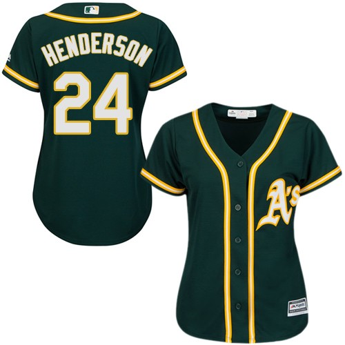 Women's Majestic Oakland Athletics #24 Rickey Henderson Replica Green Alternate 1 Cool Base MLB Jersey