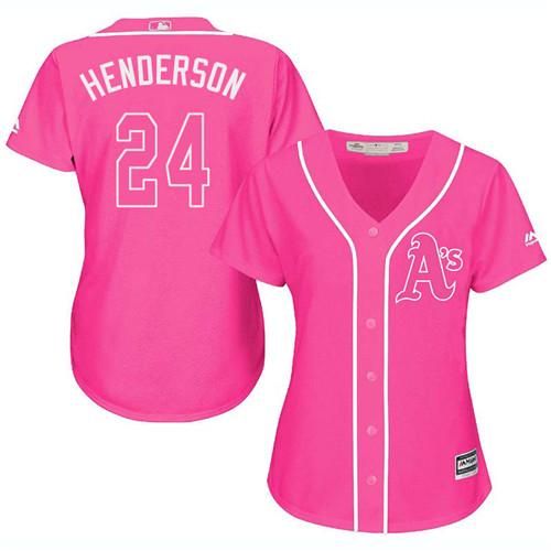 Women's Majestic Oakland Athletics #24 Rickey Henderson Replica Pink Fashion Cool Base MLB Jersey