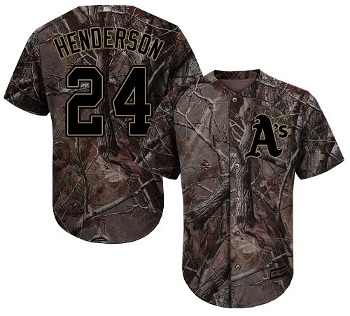 Youth Majestic Oakland Athletics #24 Rickey Henderson Authentic Camo Realtree Collection Flex Base MLB Jersey