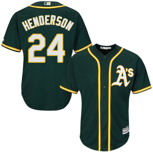 Youth Majestic Oakland Athletics #24 Rickey Henderson Authentic Green Alternate 1 Cool Base MLB Jersey