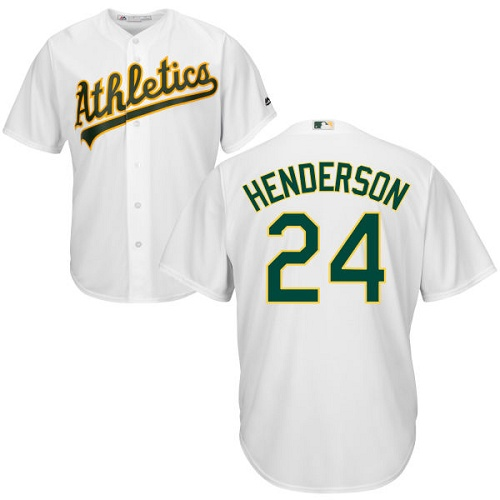 Youth Majestic Oakland Athletics #24 Rickey Henderson Authentic White Home Cool Base MLB Jersey