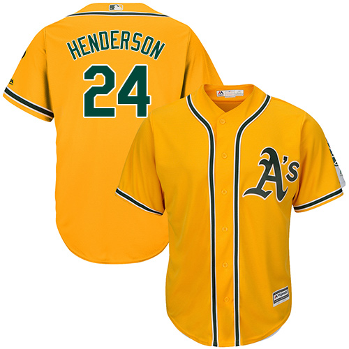Youth Majestic Oakland Athletics #24 Rickey Henderson Replica Gold Alternate 2 Cool Base MLB Jersey