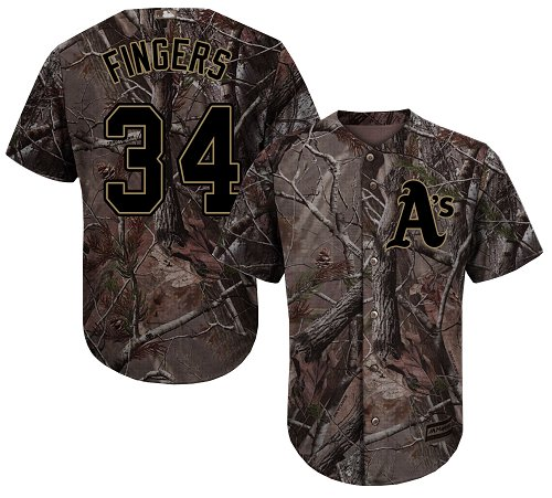 Men's Majestic Oakland Athletics #34 Rollie Fingers Authentic Camo Realtree Collection Flex Base MLB Jersey