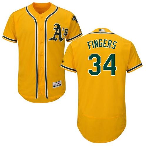 Men's Majestic Oakland Athletics #34 Rollie Fingers Gold Alternate Flex Base Authentic Collection MLB Jersey