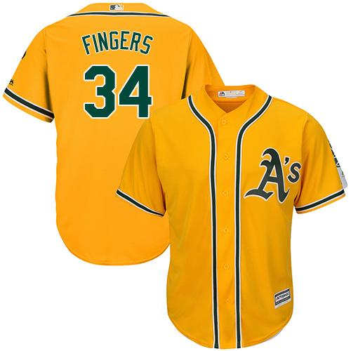 Men's Majestic Oakland Athletics #34 Rollie Fingers Replica Gold Alternate 2 Cool Base MLB Jersey