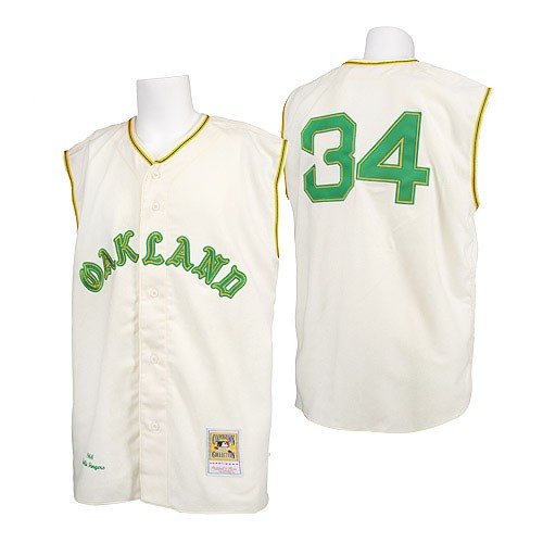 Men's Mitchell and Ness 1968 Oakland Athletics #34 Rollie Fingers Replica Cream Throwback MLB Jersey