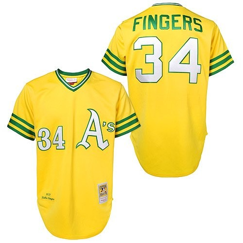 Men's Mitchell and Ness Oakland Athletics #34 Rollie Fingers Authentic Gold Throwback MLB Jersey