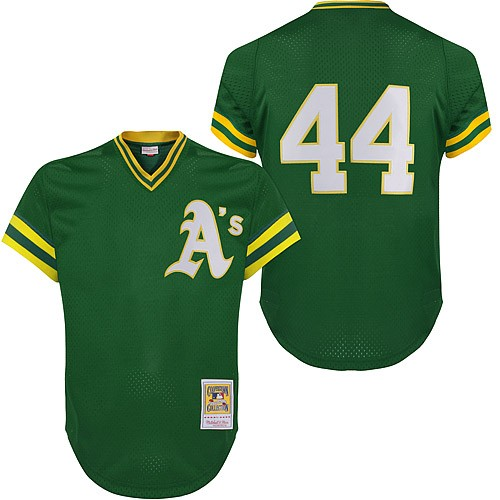 Men's Mitchell and Ness Oakland Athletics #34 Rollie Fingers Replica Green Throwback MLB Jersey