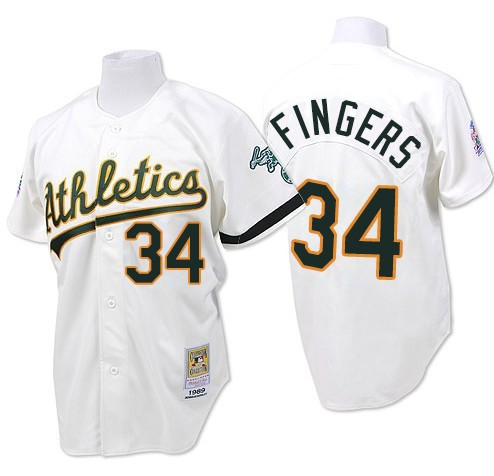 Men's Mitchell and Ness Oakland Athletics #34 Rollie Fingers Replica White Throwback MLB Jersey