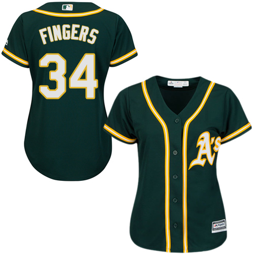 Women's Majestic Oakland Athletics #34 Rollie Fingers Authentic Green Alternate 1 Cool Base MLB Jersey