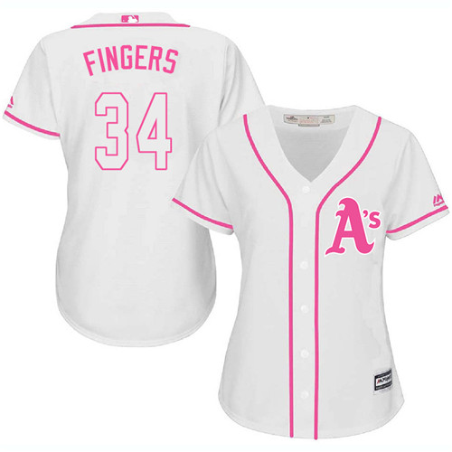 Women's Majestic Oakland Athletics #34 Rollie Fingers Authentic White Fashion Cool Base MLB Jersey