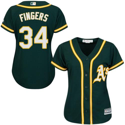 Women's Majestic Oakland Athletics #34 Rollie Fingers Replica Green Alternate 1 Cool Base MLB Jersey