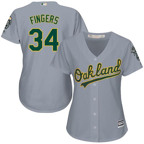 Women's Majestic Oakland Athletics #34 Rollie Fingers Replica Grey Road Cool Base MLB Jersey