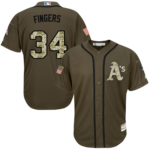 Youth Majestic Oakland Athletics #34 Rollie Fingers Authentic Green Salute to Service MLB Jersey