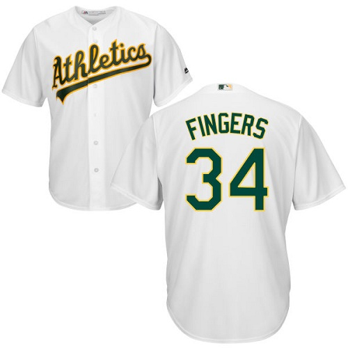 Youth Majestic Oakland Athletics #34 Rollie Fingers Authentic White Home Cool Base MLB Jersey