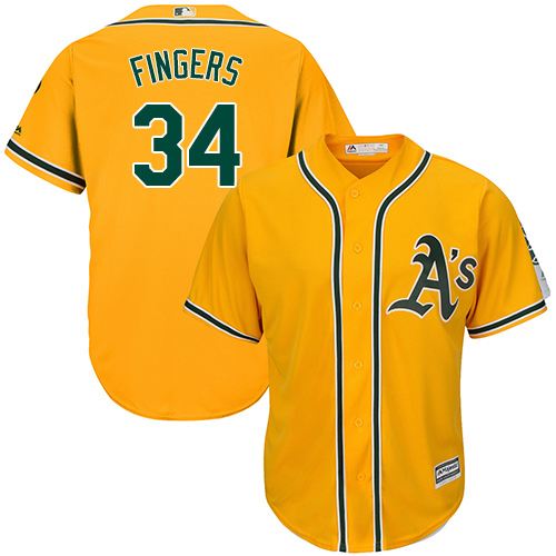 Youth Majestic Oakland Athletics #34 Rollie Fingers Replica Gold Alternate 2 Cool Base MLB Jersey