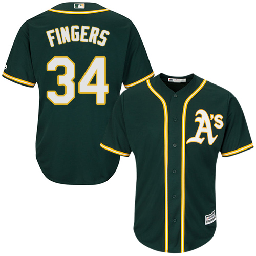 Youth Majestic Oakland Athletics #34 Rollie Fingers Replica Green Alternate 1 Cool Base MLB Jersey