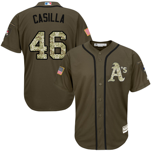Men's Majestic Oakland Athletics #46 Santiago Casilla Authentic Green Salute to Service MLB Jersey