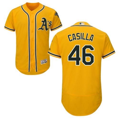 Men's Majestic Oakland Athletics #46 Santiago Casilla Gold Flexbase Authentic Collection MLB Jersey