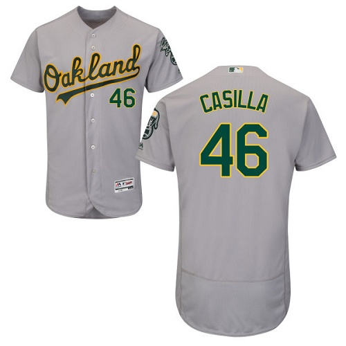Men's Majestic Oakland Athletics #46 Santiago Casilla Grey Flexbase Authentic Collection MLB Jersey
