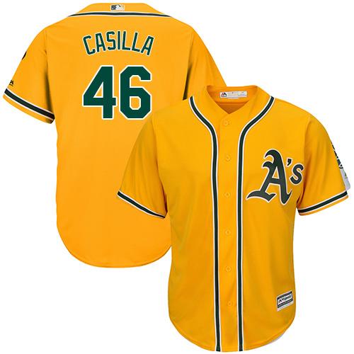 Men's Majestic Oakland Athletics #46 Santiago Casilla Replica Gold Alternate 2 Cool Base MLB Jersey