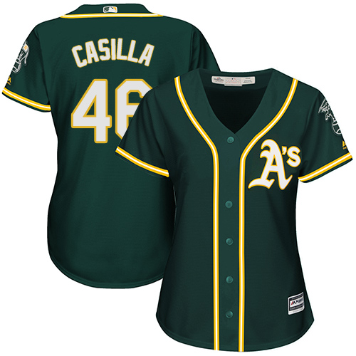 Women's Majestic Oakland Athletics #46 Santiago Casilla Authentic Green Alternate 1 Cool Base MLB Jersey