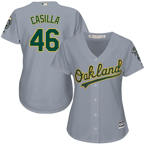Women's Majestic Oakland Athletics #46 Santiago Casilla Replica Grey Road Cool Base MLB Jersey