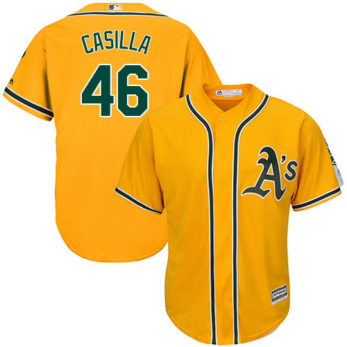 Youth Majestic Oakland Athletics #46 Santiago Casilla Authentic Gold Alternate 2 Cool Base MLB Jersey