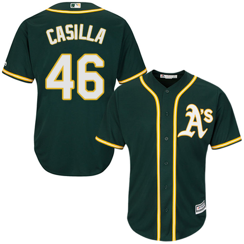 Youth Majestic Oakland Athletics #46 Santiago Casilla Authentic Green Alternate 1 Cool Base MLB Jersey