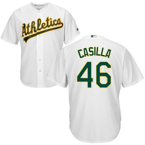Youth Majestic Oakland Athletics #46 Santiago Casilla Replica White Home Cool Base MLB Jersey