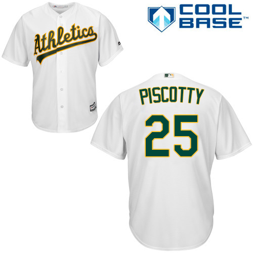 Men's Majestic Oakland Athletics #25 Stephen Piscotty Replica White Home Cool Base MLB Jersey