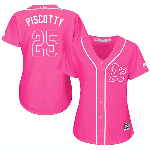 Women's Majestic Oakland Athletics #25 Stephen Piscotty Authentic Pink Fashion Cool Base MLB Jersey