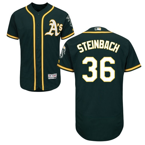 Men's Majestic Oakland Athletics #36 Terry Steinbach Green Alternate Flex Base Authentic Collection MLB Jersey