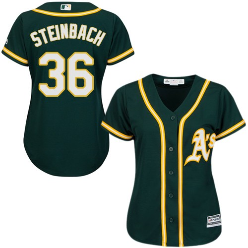 Women's Majestic Oakland Athletics #36 Terry Steinbach Authentic Green Alternate 1 Cool Base MLB Jersey