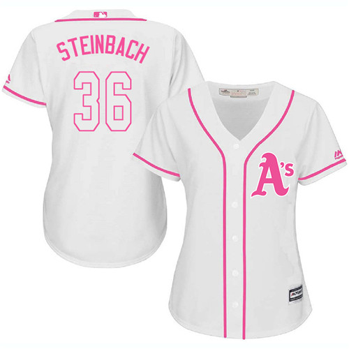 Women's Majestic Oakland Athletics #36 Terry Steinbach Authentic White Fashion Cool Base MLB Jersey