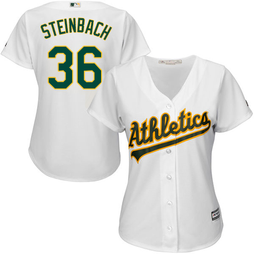 Women's Majestic Oakland Athletics #36 Terry Steinbach Authentic White Home Cool Base MLB Jersey