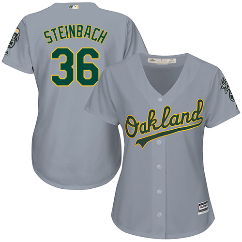 Women's Majestic Oakland Athletics #36 Terry Steinbach Replica Grey Road Cool Base MLB Jersey