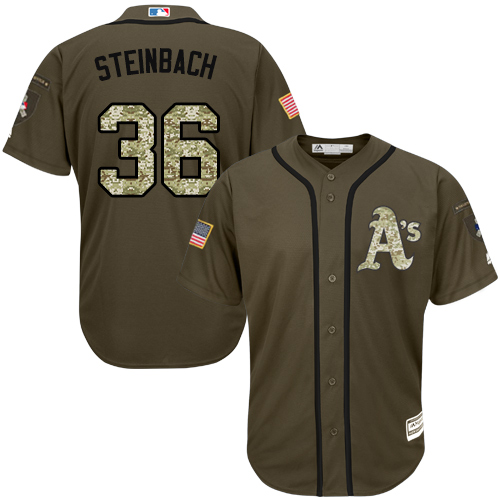 Youth Majestic Oakland Athletics #36 Terry Steinbach Authentic Green Salute to Service MLB Jersey