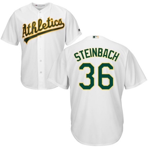 Youth Majestic Oakland Athletics #36 Terry Steinbach Authentic White Home Cool Base MLB Jersey