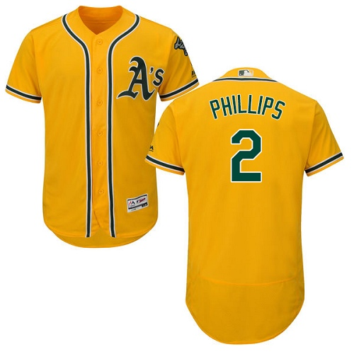 Men's Majestic Oakland Athletics #2 Tony Phillips Gold Alternate Flex Base Authentic Collection MLB Jersey