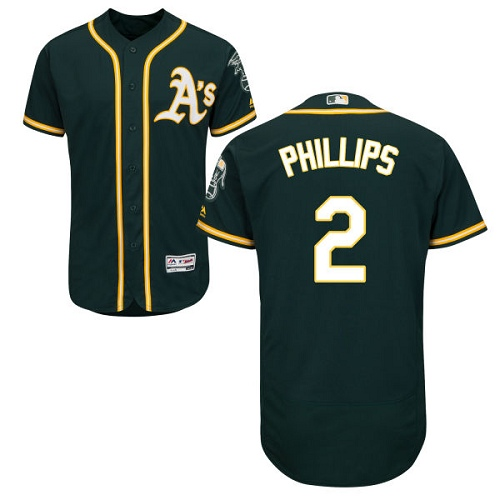Men's Majestic Oakland Athletics #2 Tony Phillips Green Alternate Flex Base Authentic Collection MLB Jersey