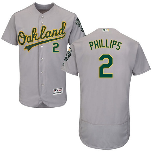 Men's Majestic Oakland Athletics #2 Tony Phillips Grey Road Flex Base Authentic Collection MLB Jersey