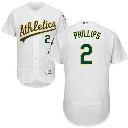 Men's Majestic Oakland Athletics #2 Tony Phillips White Home Flex Base Authentic Collection MLB Jersey