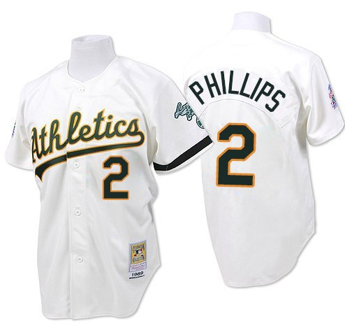 Men's Mitchell and Ness Oakland Athletics #2 Tony Phillips Replica White Throwback MLB Jersey