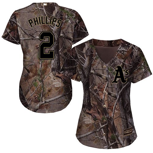Women's Majestic Oakland Athletics #2 Tony Phillips Authentic Camo Realtree Collection Flex Base MLB Jersey