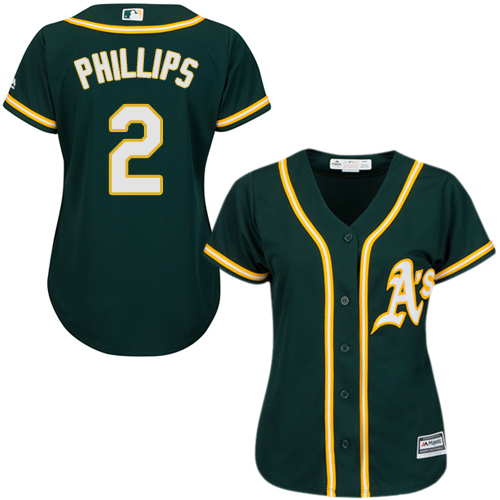 Women's Majestic Oakland Athletics #2 Tony Phillips Authentic Green Alternate 1 Cool Base MLB Jersey