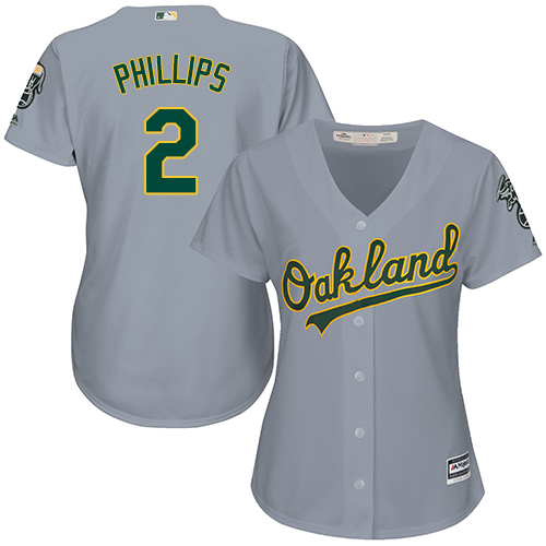 Women's Majestic Oakland Athletics #2 Tony Phillips Authentic Grey Road Cool Base MLB Jersey