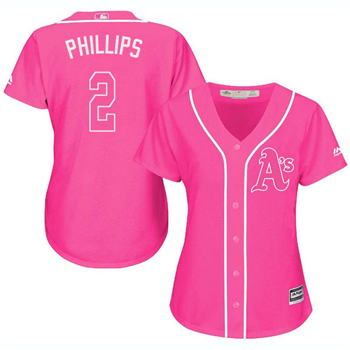 Women's Majestic Oakland Athletics #2 Tony Phillips Authentic Pink Fashion Cool Base MLB Jersey